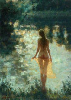 """Evening shine""  oil on canvas, 70x50cm. January 2018  #FOR_SALE #Paintings #Art #Evening #shine #nude #girl #lake #river #sunset Price 1300$ http://dmitry-oleyn3.webnode.com/meine-arbeit/"