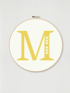 Cross stitch letter M pattern with chevron detail, instant digital download