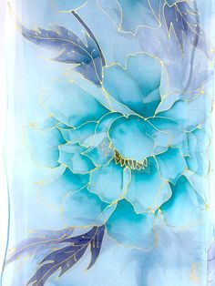 hand painted silk scarf blue silk floral scarf blue chiffon scarf japan art silk painting turquoise blue kimono peony made to order Carillons Diy, Fabric Paint Designs, Painted Silk, Hand Painted, Blue Peonies, Blue Kimono, Fabric Painting, Painting Art, Paintings