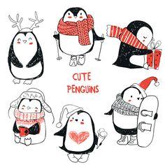 набор с милой пингвинами векторные искусства иллюстрации