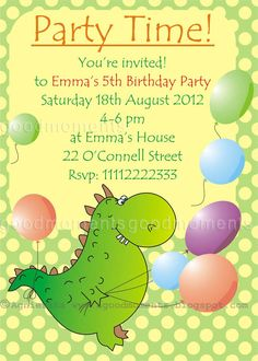 Birthdays InvitationCute Dinosaur And Colorful Balloon Background Personalized Kids Birthday InvitationsCute Invitations