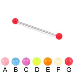 Long barbell (industrial barbell) with glow-in-the-dark balls, 14 ga.  #industrial #barbell #piercing #piercingjewelry #jewelry #bodypiercing #bodyjewelry ♥ $10.99 via OnlinePiercingShop.com