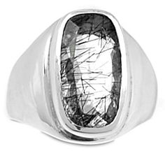 Faceted Tourmalated Quartz (Black Rutile) 925 Sterling Silver Ring Jewelry s.6.5 BRFR312