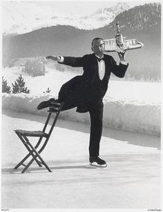 René Breguet, ice skating waiter, St. Moritz by Alfred Eisenstaedt