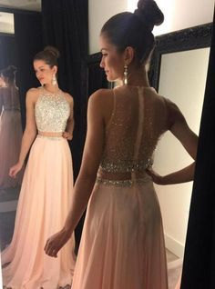 Sexy Prom Dress,a-line Round Neck Pink Prom Dress,long Prom Dress,chiffon Sequin Long Prom Pieces Evening Dress Prom Dresses Two Piece, Unique Prom Dresses, A Line Prom Dresses, Sexy Dresses, Beautiful Dresses, Prom Gowns, Evening Dresses, Chiffon Dresses, Long Dresses