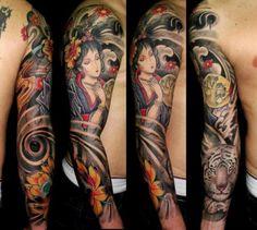 Japanese geisha tattoo sleeve body chest | Best Tattoo design Ideas