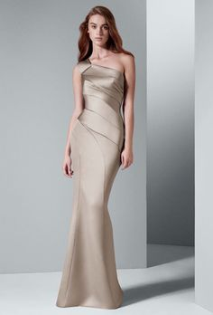 Brides: White by Vera Wang. One shoulder satin dress with asymmetrical skirt. Available in Amethyst, Blush, Charcoal, VW Champagne, Ebony.��See More White by Vera Wang Dresses, Exclusively at David's Bridal
