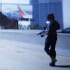 Measured Stan moves with accuracy and in a couple places, Notably the highway ambush and the attack on the Triskelion at the end, the scenes cut Between Captain America frantically running from point A to B while the Winter Soldier casually strolls to his destination, stopping only to kick people into jet engines. That contrast is subtle but it makes the Winter Soldier seem more in control-he's already there while everyone else scrambles to catch up -- click to see entire gif (6 frames)