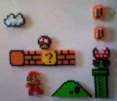 Every once in a blue moon, you have to peel your ass off the sofa and take a break from your video game so you can get something to eat. But that doesn't mean you have to stop playing when you get to the kitchen, does it? With these fun Super Mario Bros. Perler Bead Mario, Diy Perler Beads, Pearler Beads, Fuse Beads, Pearler Bead Patterns, Perler Patterns, Mario Bros, Pixel Art, Iron Beads