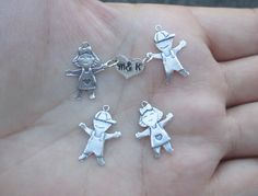 Sterling Silver Boy or Girl Charm/Also 2 with heart initial tag in the middle(You choose which one and quantity) Enamel Jewelry, Jewelry Sets, Jewelry Making, Holiday Jewelry, Halloween Jewelry, Sterling Silver Cross, Sterling Silver Necklaces, Silver Charms, Cross Pendant