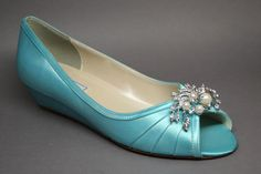 Custom Wedding Shoes  Kitten Wedges in Sky by DesignYourPedestal, $155.00