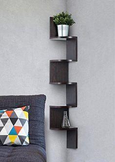 Corner shelf - Espresso Finish corner shelf unit - 5 Tier...