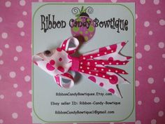 Pink Polka-Dot Angel Fish Ribbon Art Hair Clip Barrette Bow