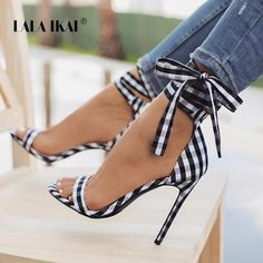 e0c58237f4b Sestito 2018 Brand Designer Shoes Woman Elegant Gingham Lace-up High Heels  Ankle Strap Sandals Ladies Peep Toe Cover Heels Shoes