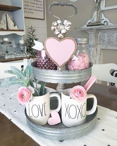 Valentine's Day tiered tray decor. Anti Valentines Day, Valentine Day Crafts, Be My Valentine, Tray Styling, Holiday Fun, Holiday Decor, Tiered Stand, Valentines Day Decorations, Tray Decor
