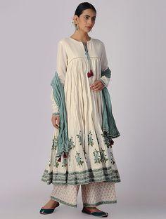 Ivory-Green Block-printed Organic Cotton Anarkali Kurta with Slip and Churidar (Set of Kurta Designs, Indian Dresses, Indian Outfits, Simple Dresses, Casual Dresses, Indie Mode, Cotton Anarkali, Hippy Chic, India Fashion