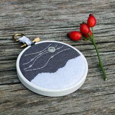 """Winter Skies III: Meteors Embroidery - Hoop Art - Textile Art (3"""" Hoop) by ndm handmade #embroidery #meteors #hoopart"""