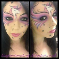 Unicorn costume makeup/face painting.   Kimpants on Instagram and Twitter Http://www.facebook.com/kimpantsmakeup Http://kimpantsmakeup.blogspot.co.uk