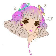 Anime Girl With Space Buns Drawing Art And Illustration, Color Splash, Creepy Cute, Pastel Art, Kawaii Art, Cute Drawings, Halloween, Cute Art, Art Inspo