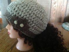 Crochet Pony Tail Hat by ButtonInTheBackHats on Etsy, $20.00