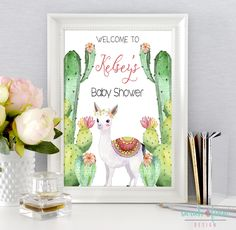Baby Shower Welcome Sign, Cactus Llama Baby Shower, Fiesta Shower, Llama Baby Shower Party Decor, Alpaca, Succulents, Printable by SarahFinnDesign on Etsy
