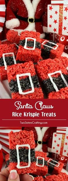 Santa Claus Rice Krispie Treats - a festive and fun Holiday dessert that will wow both your family and your Christmas Party guests. Easy to make, these super cute Christmas Treats will definitely stand out on a Holiday Dessert Table. Fun Holiday Desserts, Christmas Deserts, Christmas Party Food, Xmas Food, Christmas Appetizers, Christmas Cooking, Holiday Treats, Holiday Parties, Christmas Recipes