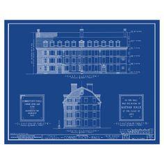 Yale University Connecticut Hall Art Blue Reproductions