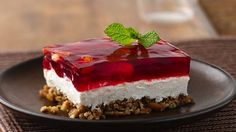 Enjoy this creamy pretzel salad with cranberry-flavored gelatin - perfect for Thanksgiving side or dessert.
