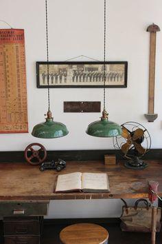 Pair of Vintage Antique Industrial Green Porcelain Enamel Factory Pendant Lights, By Dorset Finds