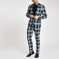 Shop our new Green check super skinny fit suit jacket at River Island today. New Mens Suits, Skinny Fit Suits, Formal Men Outfit, Cheap Mens Fashion, 3 Piece Suits, Trouser Suits, Green Jacket, Super Skinny, Clothing Items
