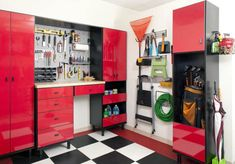 I sure wish I had this garage storage system. It's a work center and storage system tucked into the corner of the garage with custom black and white checkered flooring. Corner Storage, Cupboard Storage, Storage Cabinets, Storage Shelves, Kayak Storage, Storage Room, Shelving, Garage Organization Systems, Organization Ideas