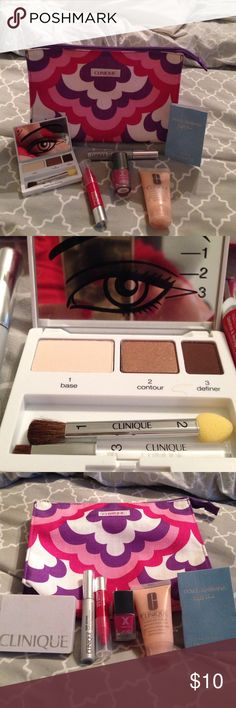 Make up samples. Clinique make up bag, Clinique color surge eye shadow trio chocolate chip, butter bronze, teddy bear, Clinique lash power feathering mascara, Clinique moisture surge extended thirst relief, Clinique chubby stick chunky cherry, formula x nail polish, and dolce & ga vans light blue perfume sample. Clinique Makeup