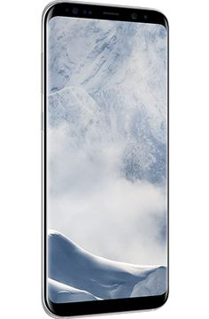 Angled left view of Galaxy S8+ in Arctic silver