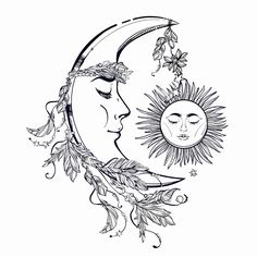Illustration of Hand drawn crescent moon with feathers and in the crown of leaves and sticks. Sleeping sun next to it. vector art, clipart and stock vectors. Body Art Tattoos, Tattoo Drawings, Sun And Moon Drawings, Moon Sun Tattoo, Moon Tattoos, Sun Moon, Moon Tattoo Designs, Magic Symbols, Moon Art