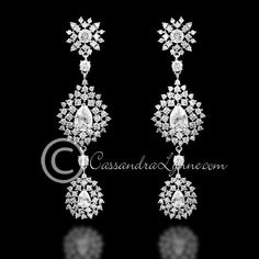 Vintage teardrop clusters CZ earrings