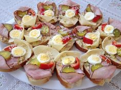 Open-Faced Sandwiches – Chlebíčky – Czech Cookbook – Video Recipes in English – US Measurements – US Ingredients Sweet And Sour Cabbage, Kolache Recipe, Prague Food, Snack Platter, Open Faced Sandwich, Czech Recipes, English Food, Polish Recipes, Fun Cooking