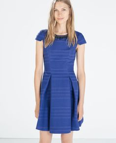 Jewelled neckline dress from Zara Yes To The Dress, New Dress, Blue Dresses, Dresses For Work, Dresses 2014, Flippy Skirts, Plain Dress, Necklines For Dresses, Style Guides