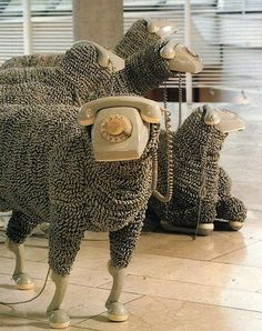 Sheep Sculptures made from Vintage Rotary Telephones