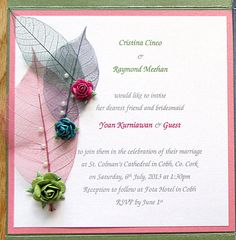 Multicolor skeletal leaves pinned with multicolor paper roses and pearls on pink border and green pocketfold. by PetalsnLace on Etsy Paper Roses, Pink And Green, Rsvp, Wedding Invitations, Marriage, Bridesmaid, Leaves, Unique Jewelry, Handmade Gifts
