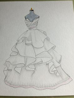 Custom wedding dress illustration original watercolor and by Zoia, $75.00