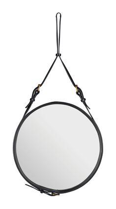 Jacques Adnet (réédition) miroir sangles cuir piqué sellier, à l'origine édité par la maison Hermès dans les années 50 Ø 45 cm - Gubi - Adnet