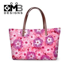 Beatiful Pink Flower Printed Handbags for Women fresh rose shoulder tote bag  for girls,stylish Shoulder Beach Tote hand bag a8ae21f3e9