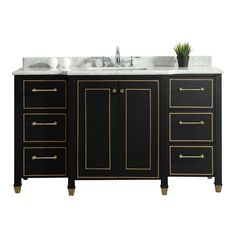 Home Decorators Collection Florence 60 in. W Vanity in Black with Marble Vanity Top in White with White Sink-Florence 60 - The Home Depot Vanity Sink, Vanity Cabinet, Bath Vanities, Black Vanity Bathroom, Sinks, Boho Bathroom, Modern Bathroom, Master Bathroom, Bathroom Small