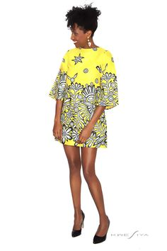 KWESIYA Dresses, Yellow African Inspired Dress - African Wax. (For leg days)