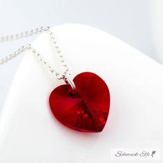 Anhänger Swarovski Elements Heart rot aus 925 Silber inkl. Kette
