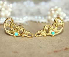 Petite victorian gold stud  earring - 14k plated gold post earrings with real Turquoise beads. $20.00, via Etsy.