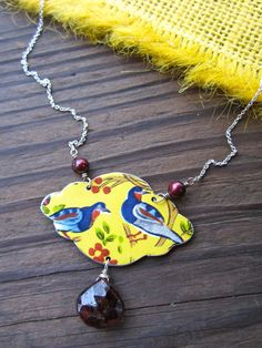 Birds of a Feather Recycled Tin Necklace. $48.00, via Etsy.