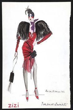 1971 - Yves Saint Laurent sketch costume for Zizi Jeanmaire