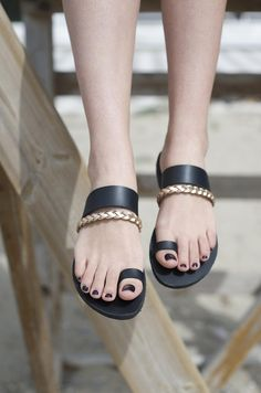 Ancient greek sandals, Classic, Luxury sandals, Hand made leather sandals, Braid sandals, Custom made, Black sandals.NY leather stories