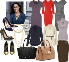 Jessica Pearson | Suits. Not a fan of the blue blouse or purple dress, but love everything else. Would be amazing if those shoes were actually comfortable.